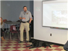 An officer and canine giving a presentation