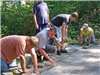 People build a patio at Hasson Park